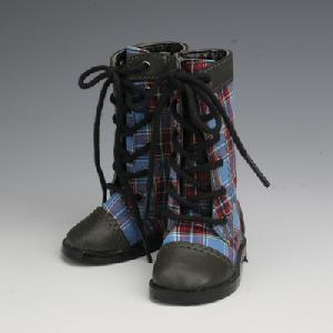 [50SH-F01A]Leather Boots Blue Check x Grey