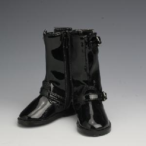 [50SH-F02C]Leather Engineer Boots Black Enamel